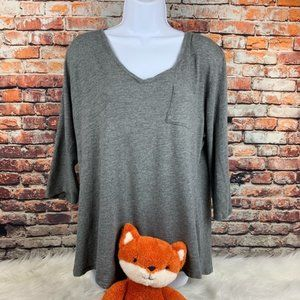 Lane Bryant 3/4 v-neck grey tee shirt size 14/16